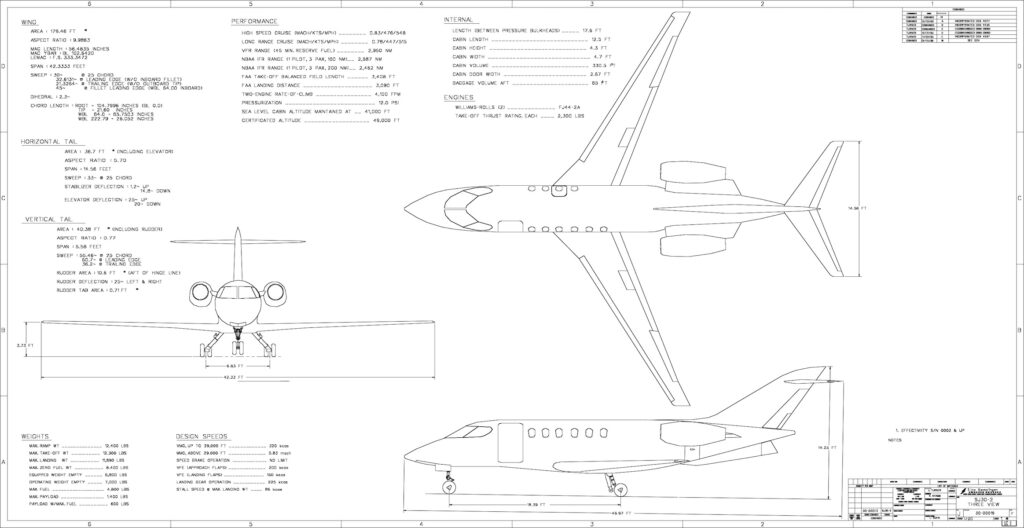 SJ30 Jet 3-View Specs