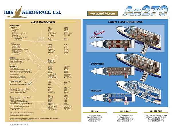 Ae270 Propjet - Cabin Configurations and Aircraft Specifications