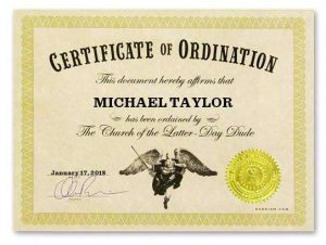 Certificate of Dudeination