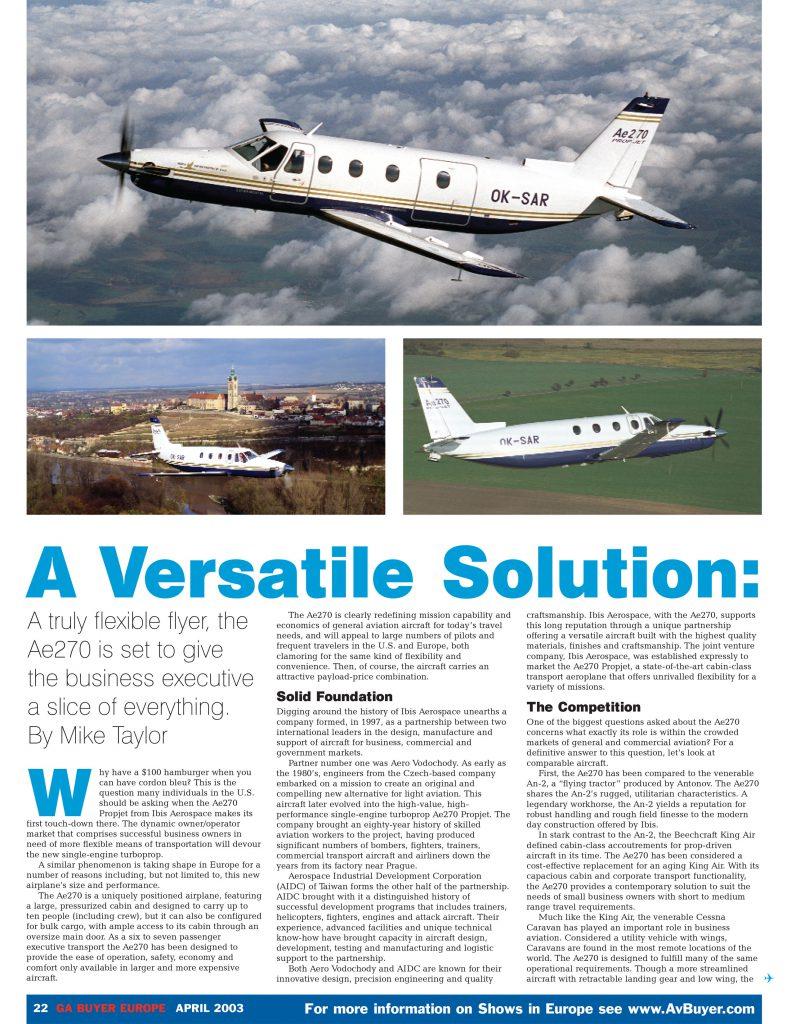 Ibis Ae270 GA Buyer Europe Article