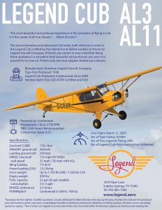 Legend Cub AL3 & AL11 Specifications Flyer