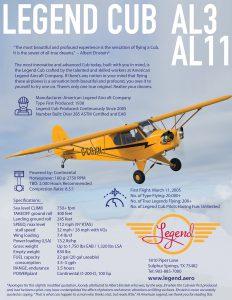 Legend Cub AL3 & AL11 Specifications Flyer