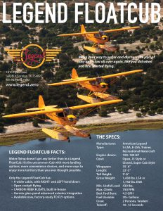 Legend FloatCub Specifications Flyer