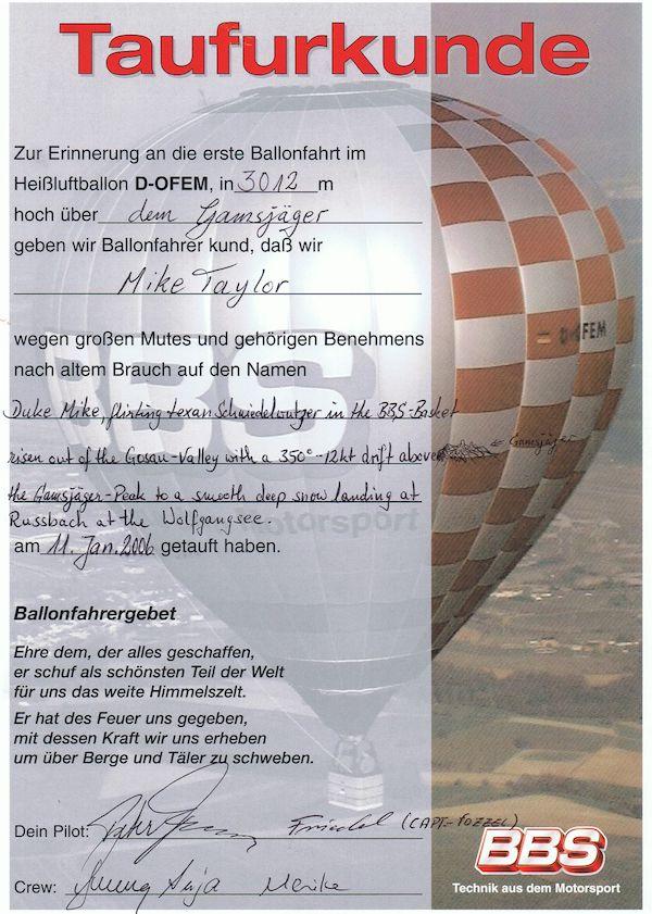 Ballonfahrer Taufurkunde