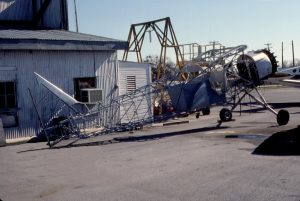 The L-1 at Stinson Airfield in San Antonio, Texas, in 1991, while being recovered. Photo by John R. Kerr.