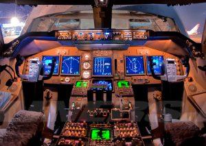 Boeing 747 Cargolux cockpit.